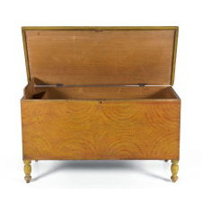 PENNSYLVANIA BLANKET CHEST IN YELLOW AND ORANGE PAINT WITH SPONGED DECORATION, STYLIZED LIKE OPPOSING FANS OR SUNBURSTS, CA 1830-1850