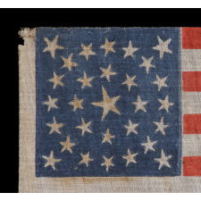 ANTIQUE AMERICAN FLAG WITH 29 WHIMSICAL STARS IN A MEDALLION CONFIGURATION, IOWA STATEHOOD, PRE-CIVIL WAR, 1846-1848