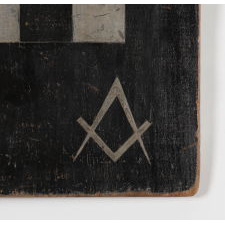 PAINTED CHECKERBOARD WITH MASONIC DECORATION, CA 1830-50