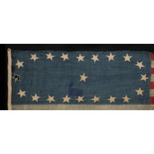 21 STARS IN A SPECTACULARLY WHIMSICAL AND CRUDE OVAL WREATH, A RARE AND EARLY EXAMPLE OF GREAT IMPORTANCE, ILLINOIS STATEHOOD, 1818-1820