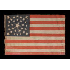 30 STARS ON AN ANTIQUE AMERICAN FLAG OF THE PRE-CIVIL WAR ERA, RARE AND BEAUTIFUL, WITH A MEDALLION CONFIGURATION THAT FEATURES A HALOED CENTER STAR, WISCONSIN STATEHOOD, 1848-1850