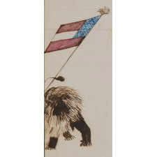 CIVIL WAR PERIOD WATERCOLOR DEPICTING LADY LIBERTY DIRECTING HER SWORD AT THE CONFEDERACY IN THE FORM OF THE BRITISH LION, CA 1861-65