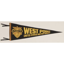 WEST POINT PENNANT WITH STRIKING GRAPHICS AND COLORATION, WWI (U.S. INVOLVEMENT, CA 1940-1950's