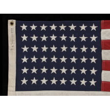 """48 STARS ON A SMALL-SCALE FLAG OF THE MID-19TH CENTURY, SIGNED """"STORM KING,"""" CA 1920-1950's"""