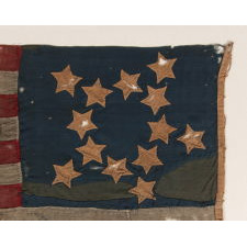 """13 STARS IN A 5-POINTED FORM OF THE """"GREAT STAR"""" PATTERN, UNIQUE AMONG KNOWN EXAMPLES AND ONE OF THE EARLIEST KNOWN AMERICAN FLAGS TO SURVIVE; MADE CA 1800 -1825 (OR POTENTIALLY PRIOR), FORMERLY PART OF THE MASTAI COLLECTION"""