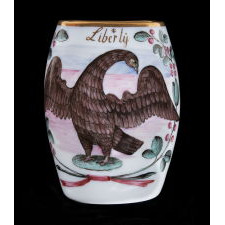 "BOHEMIAN MILK GLASS MUG WITH AN EAGLE, 13 STARS, AND THE CAPTION ""LIBERTY"", LATE 18TH CENTURY"