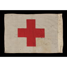 "AMERICAN RED CROSS FLAG, WWII (U.S. INVOLVEMENT 1941-45), SIGNED ""PHILADELPHIA QUARTERMASTER DEPOT, DATED AUGUST 1st, 1942"
