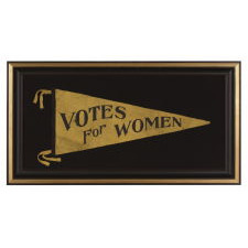 "LARGE TRIANGULAR SUFFRAGETTE PENNANT WITH FANCIFUL ""VOTES FOR WOMEN"" TEXT AND A ST. LOUIS MAKER'S LABEL, 1910-20"