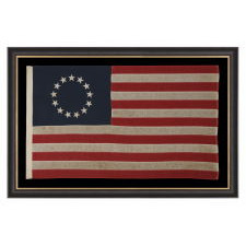 13 STARS IN THE BETSY ROSS PATTERN, A SCARCE SEWN EXAMPLE IN A DESIRABLE SMALL SCALE, 1900-1930: