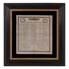COPY OF THE DECLARATION OF INDEPENDENCE ON CLOTH, PRINTED IN BOSTON IN 1832 TO MEMORIALIZE THE PASSING OF THE LAST SURVIVING SIGNER, CHARLES CARROLL OF MARYLAND, IN THE YEAR THAT COINCIDED WITH THE 100TH BIRTHDAY OF GEORGE WASHINGTON